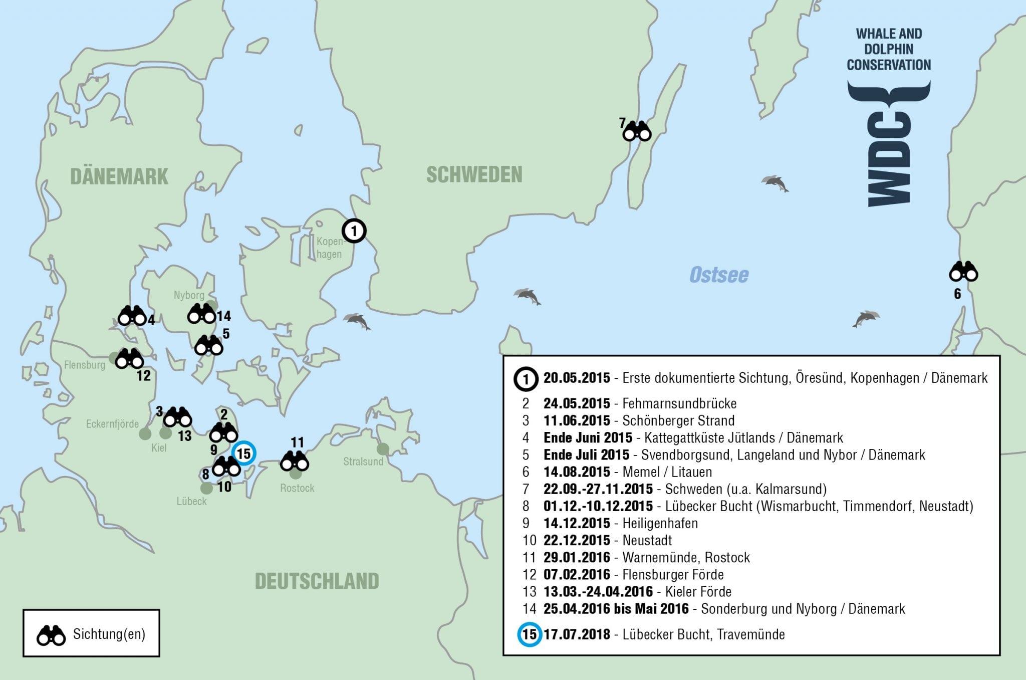 Sichtungskarte Große Tümmler in Deutschland
