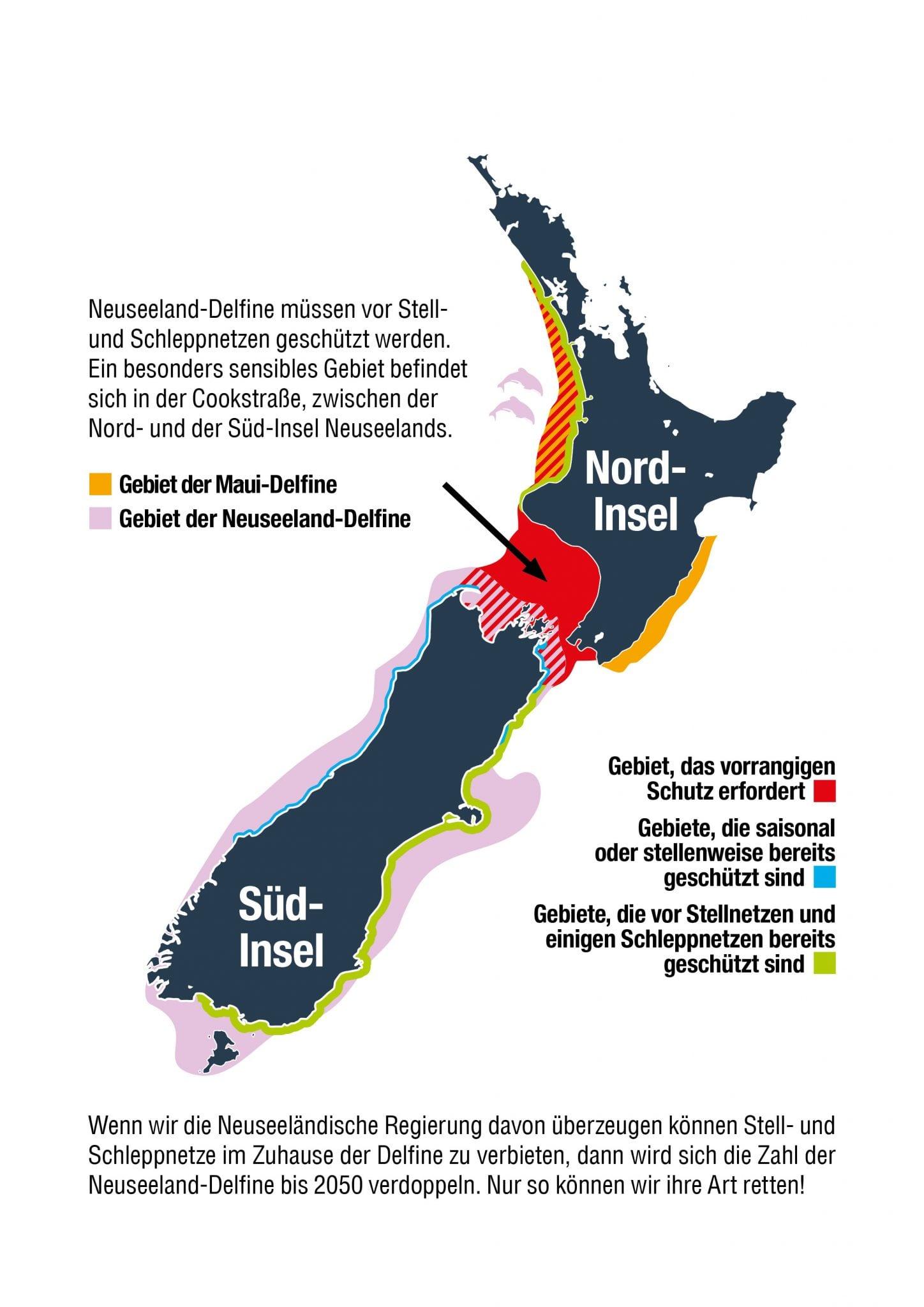 Verbreitung Neuseeland-Delfine