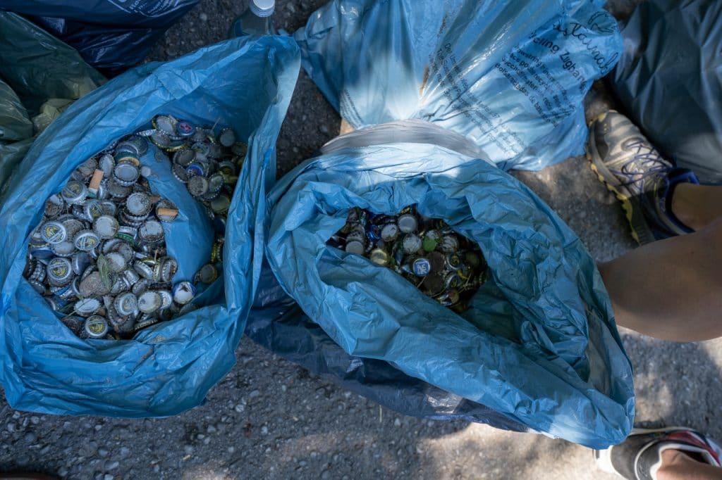 Gesammelter Müll beim Polarstern Isar Clean-Up in München