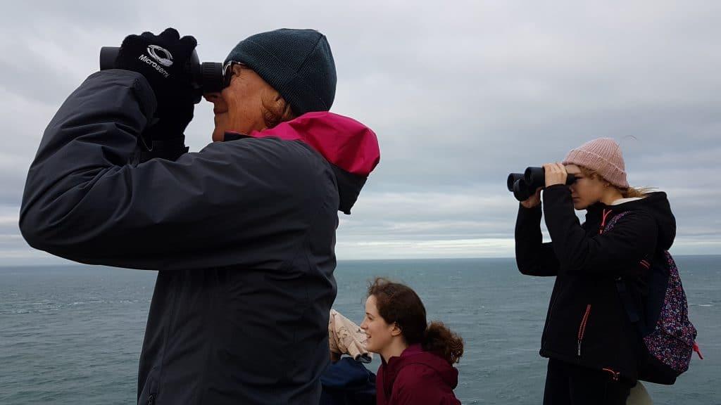 In diesem Bild stehe ich links und beobachte das Meer. Neben mir sind Pine, Merel und Rebecca.