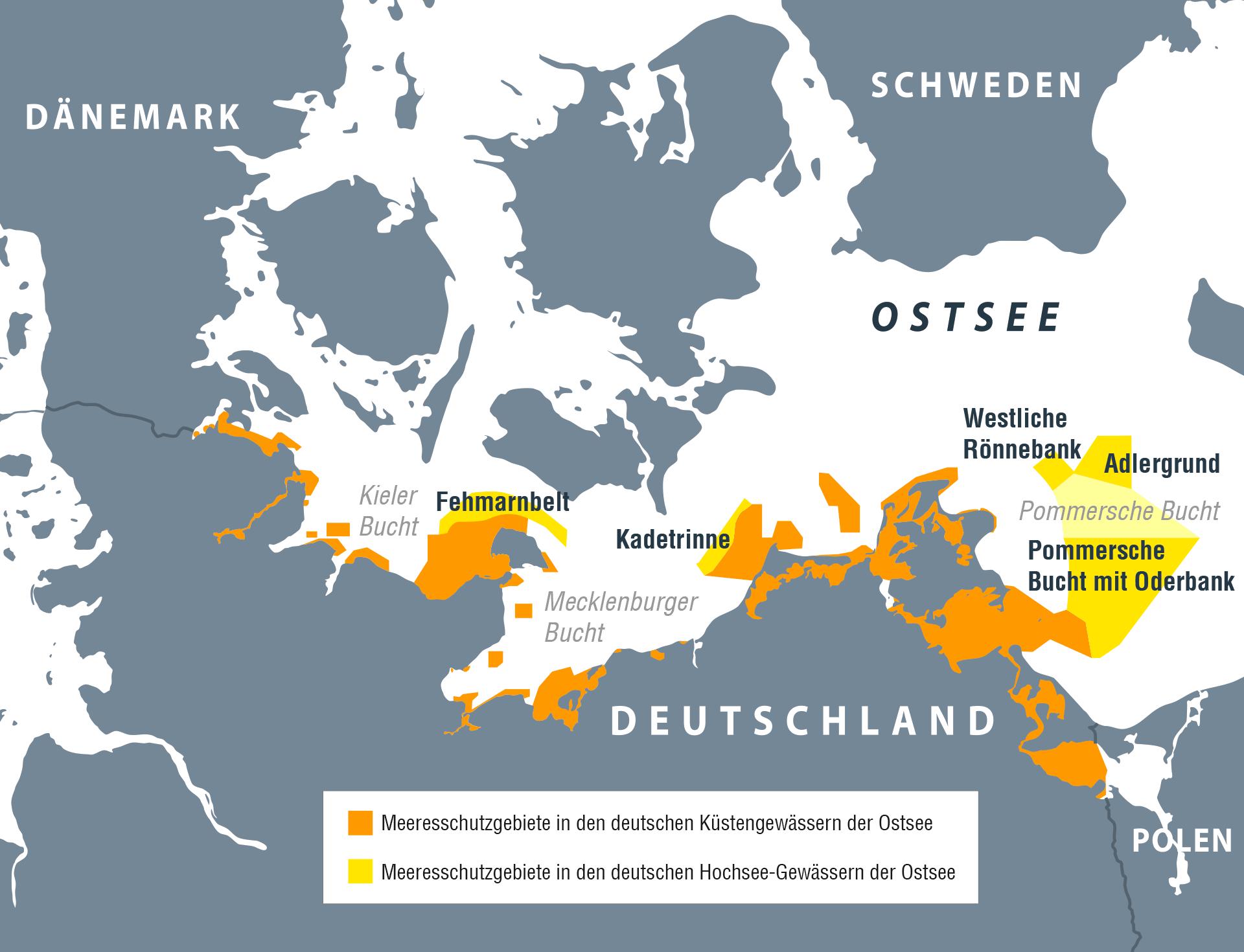 Karte: Schutzgebiete in der Ostsee